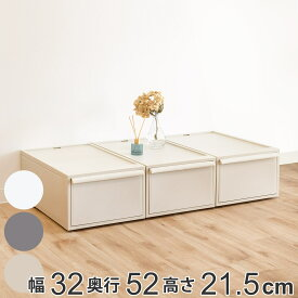 収納ケース 収納ボックス 引き出し M 幅32×奥行52×高さ21.5cm 3個セット クローゼット収納 ( 送料無料 収納 衣類収納 クローゼット スタッキング プラスチック 積み重ね ホワイト グレー おしゃれ 日本製 )