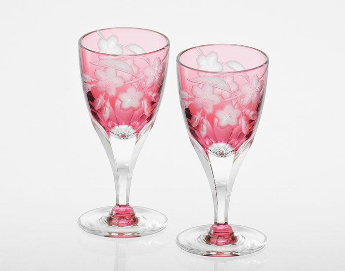 カガミクリスタル KAGAMI CRYSTAL ペア冷酒杯 <桜> グラビール彫刻 KPS812-2678-CAU 70cc 木箱入り
