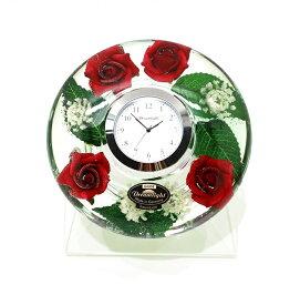 ドリームクロック 置き時計 レディローズ 直径約11cm×高さ4cm CDD72113CL