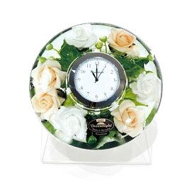 ドリームクロック 置き時計 ピュアローズ 直径約11cm×高さ4cm CDD7237CL