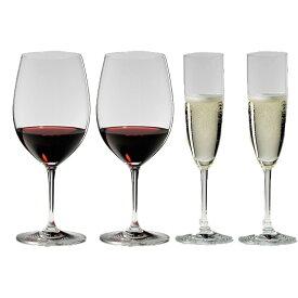 4本購入でポイント10倍 送料無料・包装無料 RIEDEL リーデル ヴィノム(ビノム)スターターセット 416/0,416/8 各2本 ワイングラス 赤ワイン用ボルドー、シャンパン用シャンパンフルート