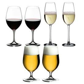6本購入でポイント10倍 送料無料・包装無料 RIEDEL リーデル オヴァチュア(オバチュア) レッドワイン(6408/00)、ビアグラス(6408/11)シャンパン(6408/48)各2本 合計 <6本セット> ビール ビアー overture