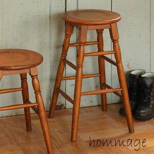 木製 ハイスツール 丸椅子 高さ 60cm カウンター チェア 北欧 アンティーク調 レトロ 飾り台 HMS-2667BR ブラウン BR 送料無料 ICIBA 市場 hommage オマージュ
