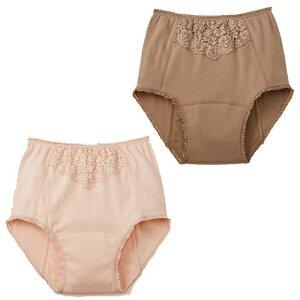メール便送料無料 セルヴァン フロントレース付深ばき安心ショーツ 2色組 失禁パンツ 尿漏れパンツ