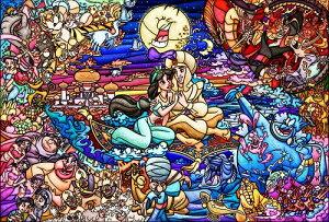 ディズニー ステンドアートジグソー ぎゅっと500ピース アラジン ストーリー ステンドグラス (DSG-500-474)【ディズニーパズル】(25x36cm)