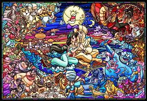 ディズニー1000ピース  ディズニー アラジン ストーリー ステンドグラス 【ピュアホワイト】(51x73.5cm)(DP-1000-029)【ディズニーパズル】