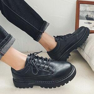 カジュアルシューズ メンズ 黒 厚底 おしゃれ ダービーシューズ オックスフォードシューズ ローカット スニーカー レースアップシューズ 紐靴 韓国 ブラック シューズ 靴 短靴 短ぐつ アウ