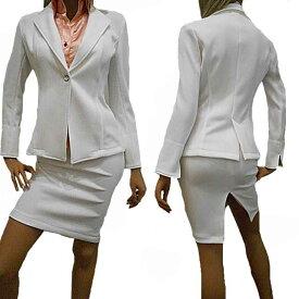 10%OFF/ポイント2倍【あす楽】<丈長ジャケット白スーツ>ストレッチテーラードジャケットスーツ ウエストゴムのひざ丈スカート+袖スリット入り折り返し可能の2WAYスリットスカート タイトスカート ペンシルスカート セクシースーツ 日本製
