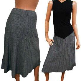 【あす楽】ケーブル編み風ニットスカート ひざ下中途丈フレアースカート ウエストゴム フレアースカート ひざ下丈スカート ひざ丈スカート ロングスカート アラサー アラフォー20代 30代 40代
