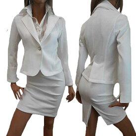 10%OFF/ポイント2倍【あす楽】<ショート丈ジャケットの白スーツ>ストレッチテーラードジャケットスーツ ウエストゴムのひざ丈スカート+袖スリット入り2WAYカフススーツ バックスリットタイトスカート スリットスカート ペンシルスカート セクシースーツ 日本製