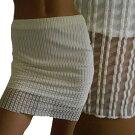 オフホワイトクリーム色系ストライプ超薄地ストレッチシースルーミニタイトスカート