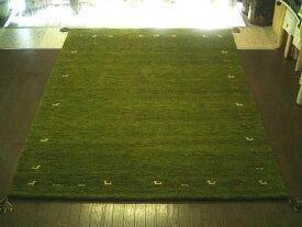 送料無料 WOOL100%全厚20mm 緑芝生草色 インド手織りギャッベ ラグ 200×250 約 3畳 ギャベ ギャッベ ラグマット 厚手 北欧 夏 カーペット 絨毯