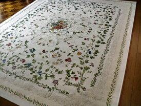 ラグ ラグマット マット 200×250 約 3畳 小花柄 ベルギー製 ゴブラン織絨毯 春 夏 西海岸 ラグカーペット カーペット ホットカーペット対応 長方形 北欧 アイボリー