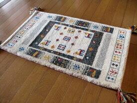 ラグマット ラグ ウール WOOL100% 全厚20mm インド手織りギャッベ 45×75 玄関マット 生成り アイボリー 室内 ギャベ ギャッベ 厚手 北欧 夏 カーペット 絨毯