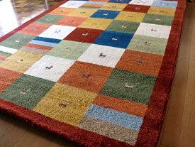 送料無料 WOOL100%全厚20mm レッドチェック インド手織りギャッベ 200×200 約 2畳 ギャベ ギャッベ ラグマット 厚手 北欧 夏 カーペット 絨毯