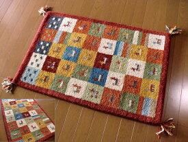 WOOL100%全厚20mm レッドチェック インド手織りギャッベ 70×120 ギャベ ギャッベ 玄関マット 室内楽天 ラグマット 厚手 北欧 夏 カーペット 絨毯