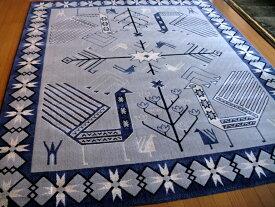 ポップなギャッベ柄 国産 ウィルトン織絨毯 200×240 約 3畳 日本 ラグマット 厚手 北欧 夏 カーペット 青紫色 グレー アイボリー ブラック ブルーバイオレット スーパーSALE