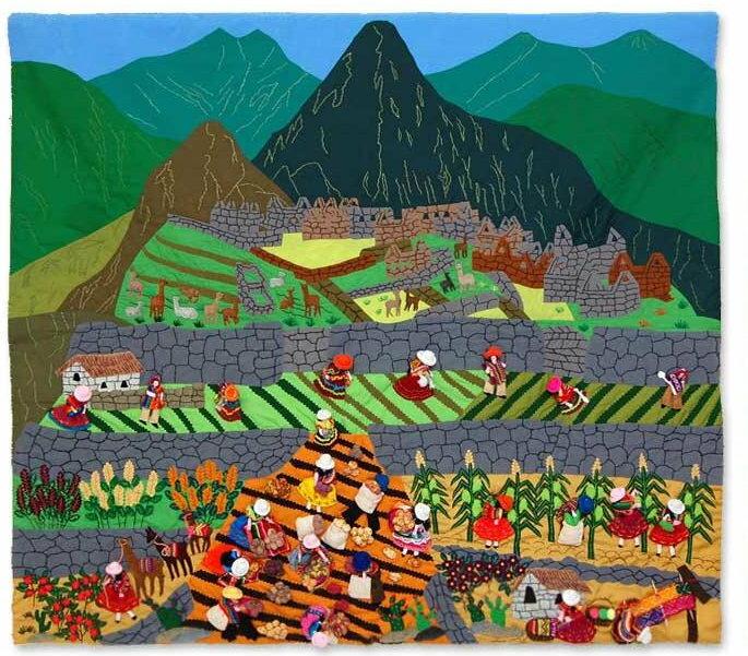 【納期約2週間】ペルー タペストリ 「マチュピチュ農園」ウール ハンドメイド飾り/古代インカ帝国 マチュ ピチュ アルパカ ナスカ