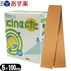 (あす楽対応)(人気の5cm!)(お試し用サイズ1m)キネシオロジーテープ(キネシオテープ)キネフィット テープ 5cmx1m ウェーブ加工・撥水加工 - 撥水重ね貼り用