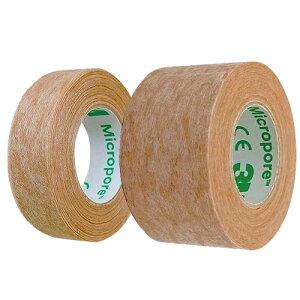 (メール便(日本郵便) ポスト投函 送料無料)(目立たない不織布タイプ)3M マイクロポアー スキントーン サージカルテープ不織布 全長9.1m(1.25cm+2.5cm)セット - 肌になじんで目立ちにくいテープ。