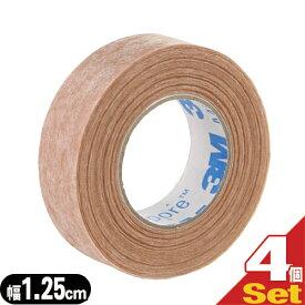(あす楽発送 ポスト投函!)(送料無料)(目立たない不織布タイプ)3M マイクロポアー スキントーン サージカルテープ不織布 (全長9.1mx幅1.25cm) x4ロール - 肌になじんで目立ちにくいテープ。傷あとの保護・まつエクの施術・美容ケア(ネコポス)【smtb-s】