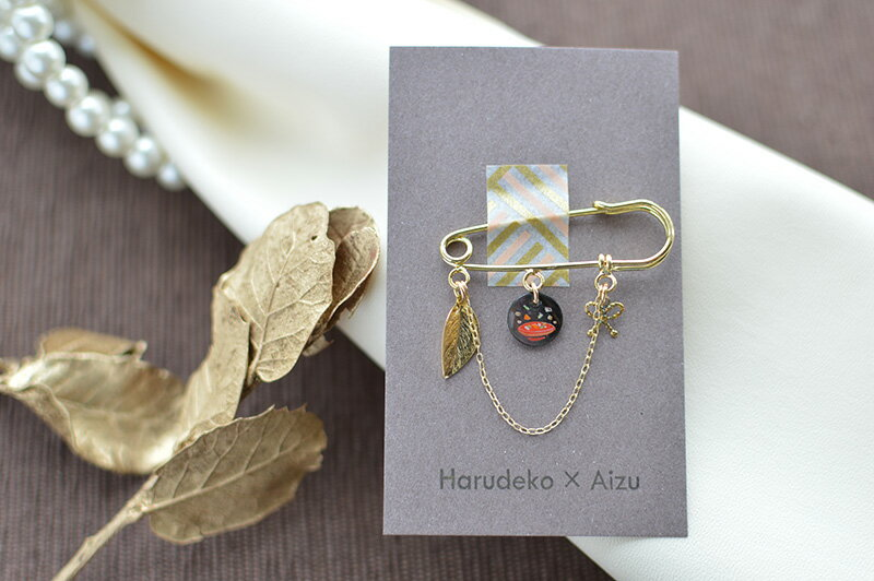 【送料無料】【アクセサリー】【Harudeko】黒蝶貝のブローチ(こづゆ)【クリックポストにて発送】
