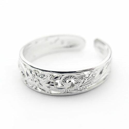 透かし波&プルメリア柄 ハワイアンジュエリー リング ピンキーリング ペアリング トゥリング ネイルリング ファランジリング KPR005 指輪 シンプルフリーサイズ 人気 ギフトHawaiian jewelry