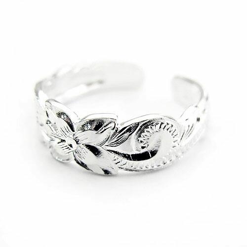 波&プルメリア ハワイアンジュエリー ピンキーリング リング KPR015 ペアリング ハワイアンジュエリートゥリング プレゼント ギフト ファランジリング ネイルリング 指輪 シンプルフリーサイズ 人気 ギフトHawaiian jewelry