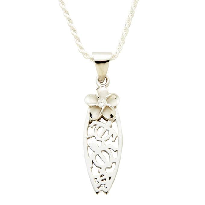 ホヌとプルメリアのサーフボードハワイアンジュエリーペンダントトップ KT647(チェーンセットも選べます)ロジウム加工 ネックレス 人気 ギフトHawaiian jewelry