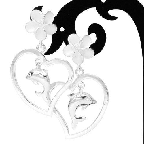 揺れる プルメリア ハート&ドルフィン ハワイアンジュエリー ピアス KP378 いるか イルカ プレゼント ギフト レディース 人気 ギフトHawaiian jewelry