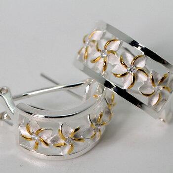イエロー 透かしプルメリア ハーフフープ ハワイアンジュエリー ピアス KP132 半月型 プレゼント ギフト 人気 ギフトHawaiian jewelry