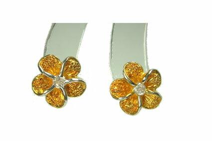 YG プルメリア イエローゴールドコーティング ハワイアンジュエリーピアス クリアCZ KP016プレゼント ギフト 人気 ギフトHawaiian jewelry