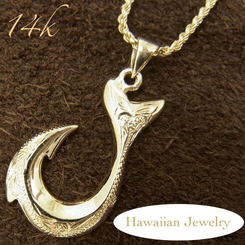 14Kイエローゴールド フィッシュフック ハワイアンジュエリー ゴールド ネックレス メンズ レディース gold SCP2041Y gpt-005 人気 ギフトHawaiian jewelryプチギフト
