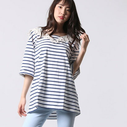 【アウトレット】ゲス GUESS LADIES S/S BORDER V-NECK TEE (NAVY)