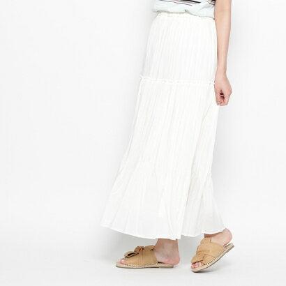 インデックス INDEX プリーツマキシスカート (ホワイト)