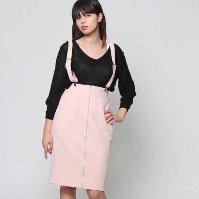 【アウトレット】アンチュール エミュ Unchulle' emu サスペンダー付きタイトスカート (ピンク)