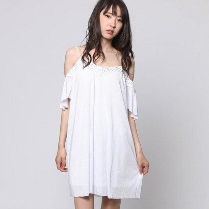 ゲス GUESS OFF SHOULDER MONACO DRESS (TRUE WHITE)