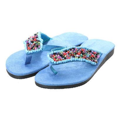 【チャイハネ】Kids' Sandals / つぶつぶビーズトングサンダル ターコイズブルー