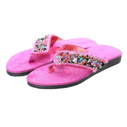 【チャイハネ】Kids' Sandals / つぶつぶビーズトングサンダル ピンク