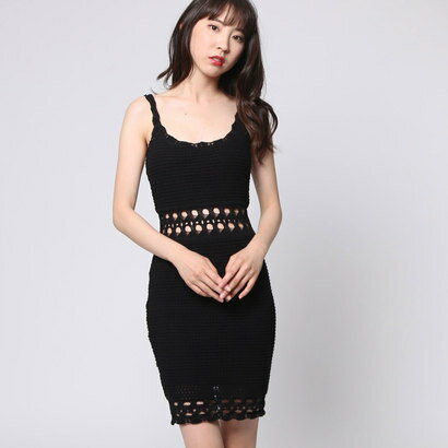 【アウトレット】ゲス GUESS SL CASSIDY CROCHET DRESS (JET BLACK)