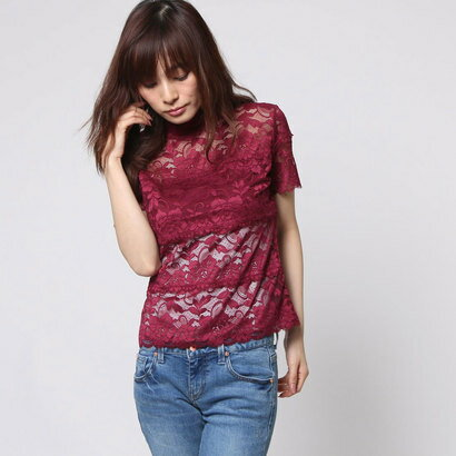 【アウトレット】ゲス GUESS S/S SHAYNA MOCK NECK TOP (VINTAGE RASBERRY)