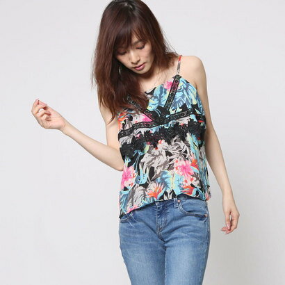【アウトレット】ゲス GUESS SL JUNGLE FLORA LACE TRIM TOP (JUNGLE FLORA JET BLACK)