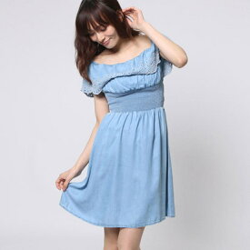 【アウトレット】ゲス GUESS FLOUNCES DENIM DRESS (COTE D AZUR)