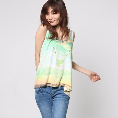 【アウトレット】ゲス GUESS SL DESERT COLLAGE TANK (TRUE WHITE)