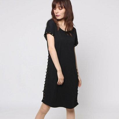 【アウトレット】ゲス GUESS TALILAH T-SHIRT DRESS (JET BLACK)