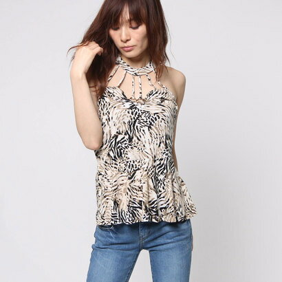 【アウトレット】ゲス GUESS SL RAE RINGED PEPLUM TOP (BENGAL TIGER JET BLACK)