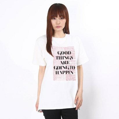 【アウトレット】ラグナムーン LAGUNAMOON 【CASUAL】NewspaperロゴTシャツ (ホワイト)