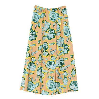 【アウトレット】ラグナムーン LAGUNAMOON Drawing flowerプリントラッププリーツスカート (ベージュ)