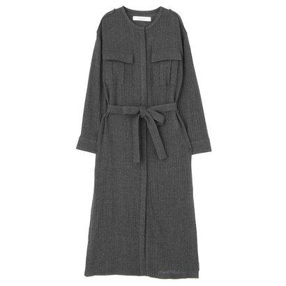 【アウトレット】ラグナムーン LAGUNAMOON ウールガーゼ ロングmilitaryシャツ (チャコールグレー)
