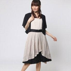 6316276bd3b26  アウトレット ファイン FINE 裾花モチーフボレロ付きワンピース (ベージュ×ブラック)